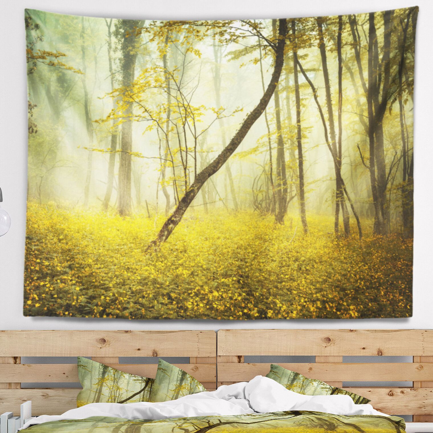 East Urban Home Landscape Photography Forest with Yellow Flowers ...