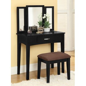 vanity set with stool and lighted mirror. Luisa Vanity with Mirror  Stool Set Makeup Tables and Vanities You ll Love Wayfair