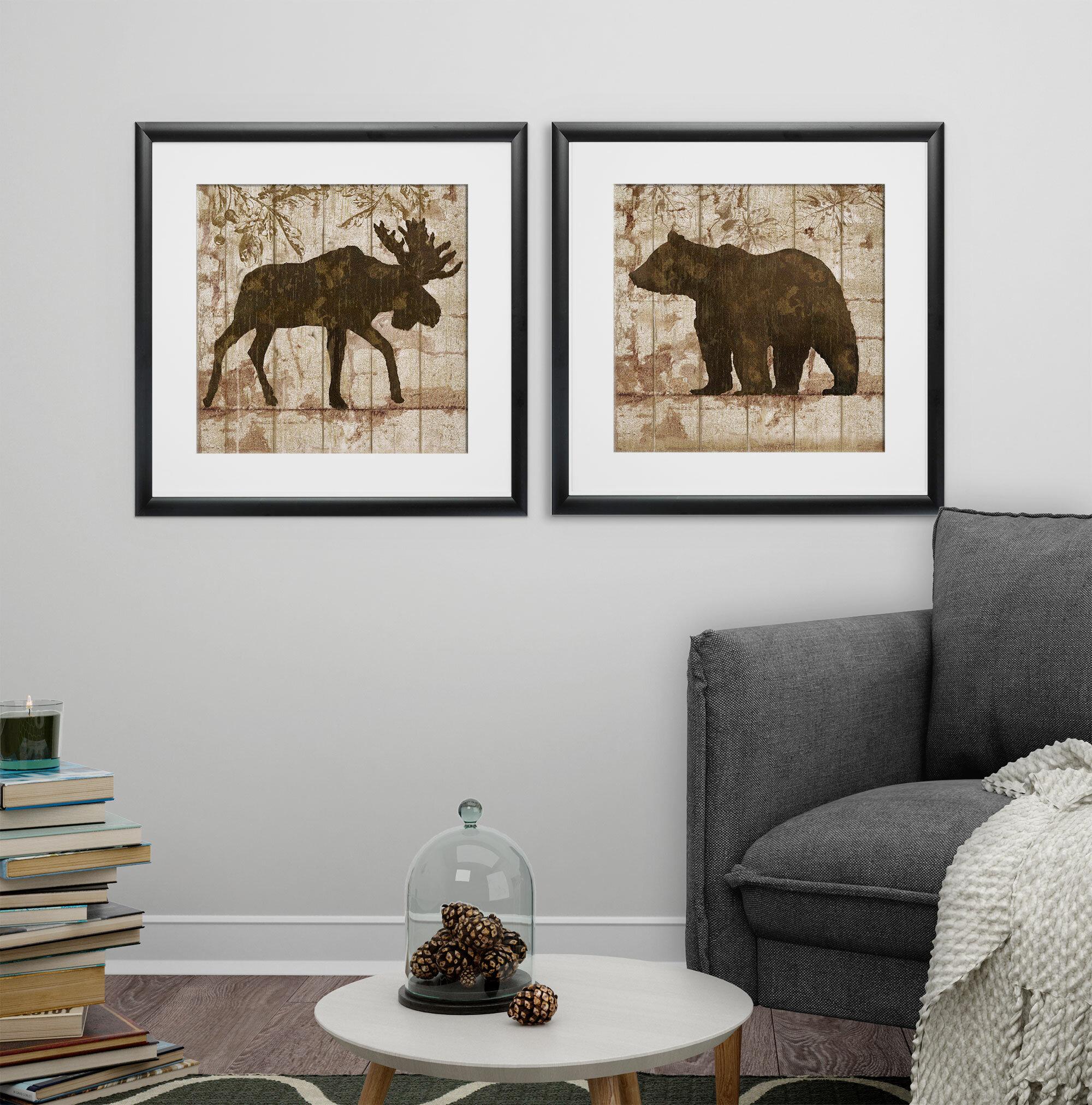 Loon Peak \'Moose & Bear Crossing\' 2 Piece Framed Graphic Art Print ...