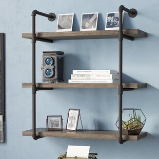 Simonne 3 Tier Industrial Pipe Wall Shelf