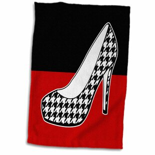 00d332989f3 Kunkel I Love Shoes Houndstooth Print High Heel Shoe on Hand Towel