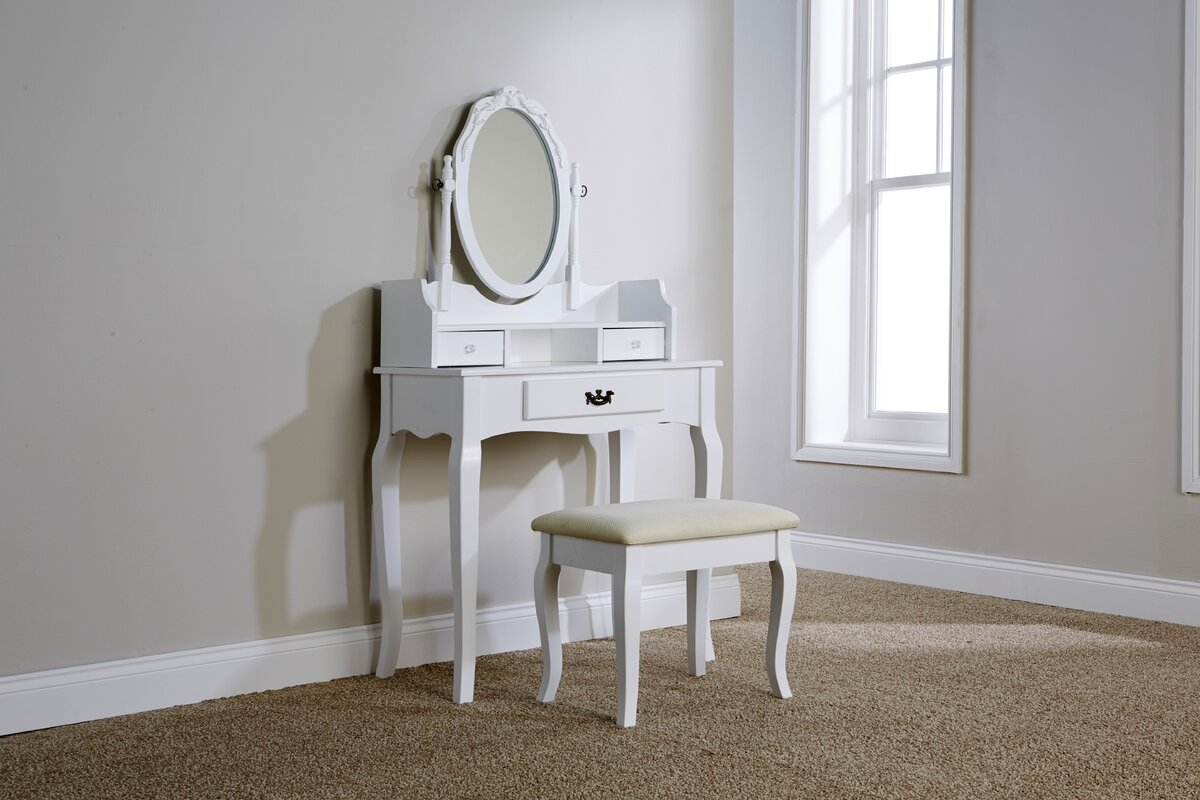 Lily Manor Lucy Dressing Table Set with Mirror & Reviews