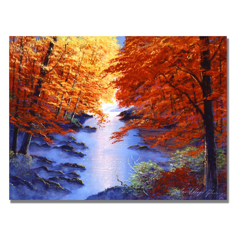 'Misty Blue Morning' by David Lloyd Glover Framed Painting Print on Wrapped Canvas