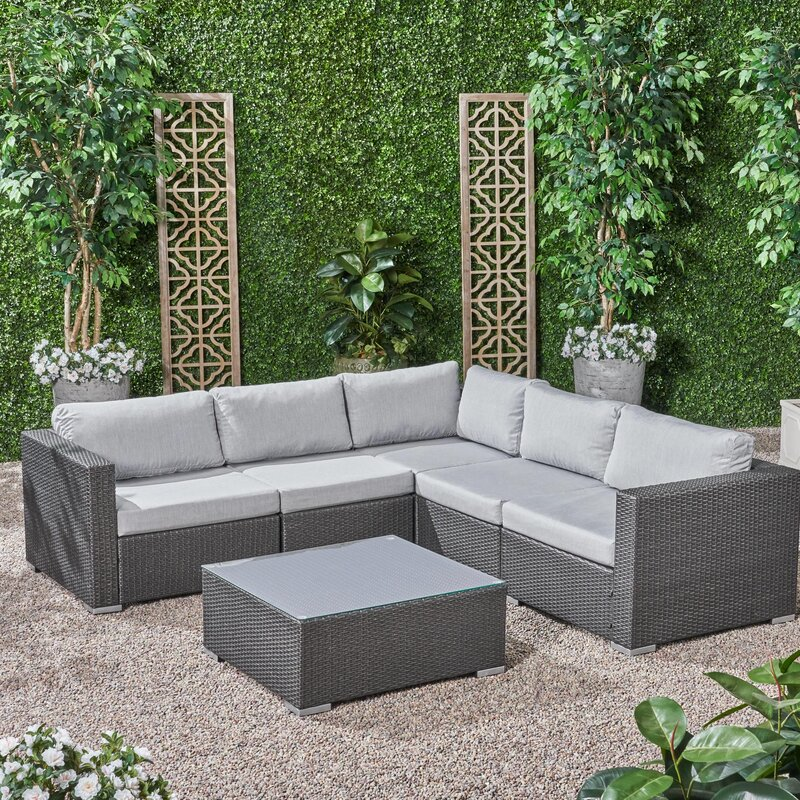 Roxann Outdoor 5 Seater Wicker Sectional Sofa Set with Sunbrella Cushions