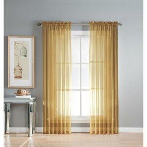 Diamond Solid Sheer Rod Pocket Curtain Panels (Set of 2)