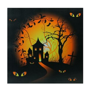 U0027LED Lighted Spooky House And Eyes Halloweenu0027 Graphic Art Print On Canvas