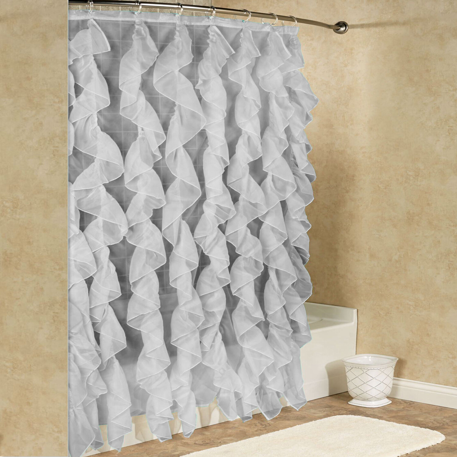 Sweet Home Collection Chic Sheer Voile Vertical Waterfall Ruffled Shower Curtain Reviews