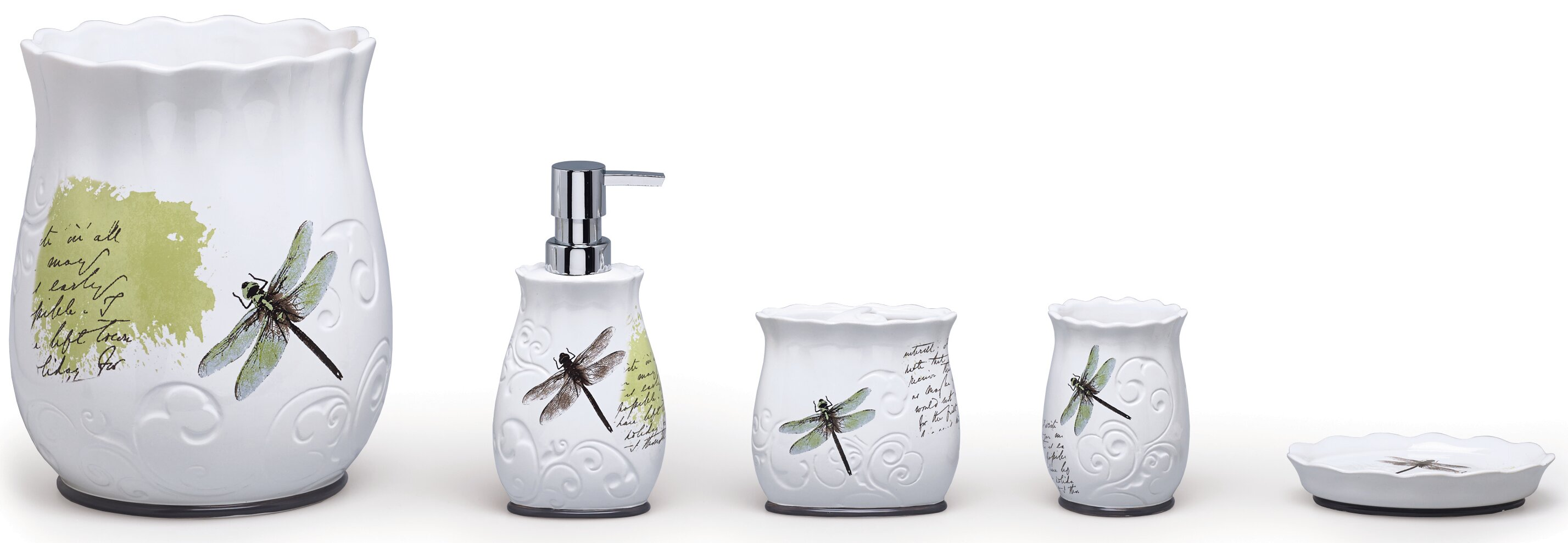 Moda At Home Dragonfly Ceramic 4 Piece Bathroom Accessory Set U0026 Reviews |  Wayfair