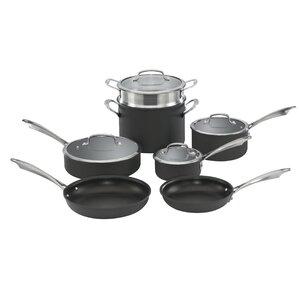 Dishwasher-Safe Hard-Anodized 11 Piece Non-Stick Cookware Set