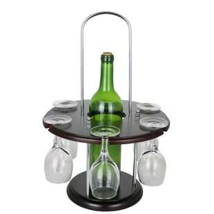 Wooden Round Glass Holder Display 1 Bottle Tabletop Wine Glass Rack