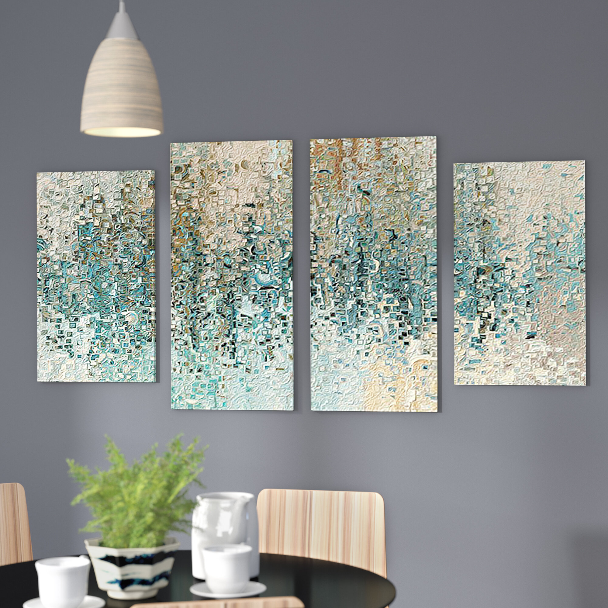 Latitude Run \'Revealed\' Framed 4 Piece Set on Canvas & Reviews | Wayfair