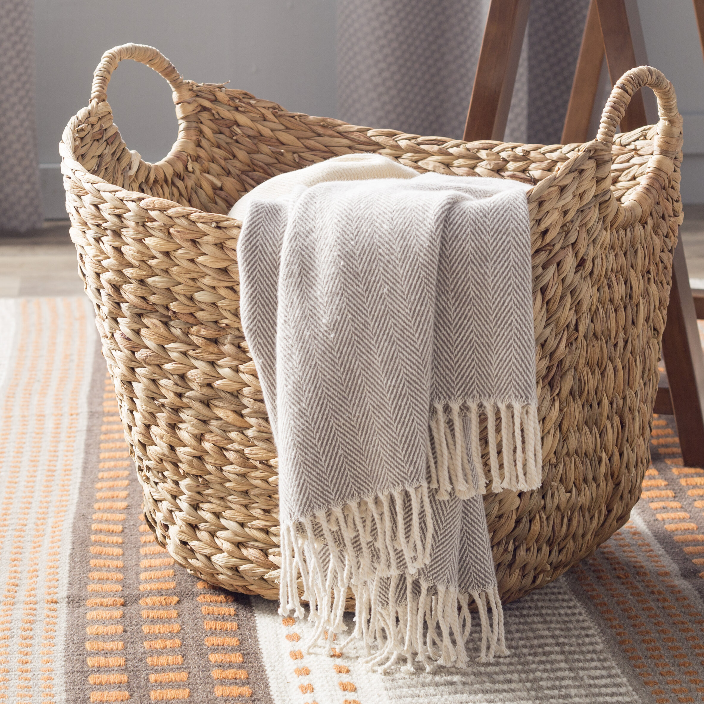 The Twillery Co Tall Water Hyacinth Wicker Basket With Handles