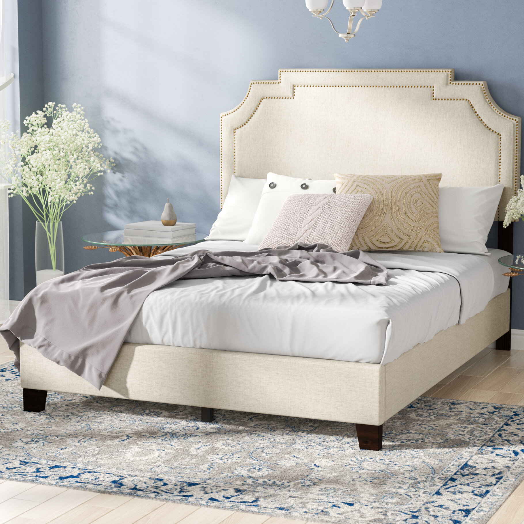 Corner Bed Furniture Unit Darby Home Co Galway Tiered Clipped Corner Queen Upholstered Panel Bed Reviews Wayfair Wayfair Darby Home Co Galway Tiered Clipped Corner Queen Upholstered Panel