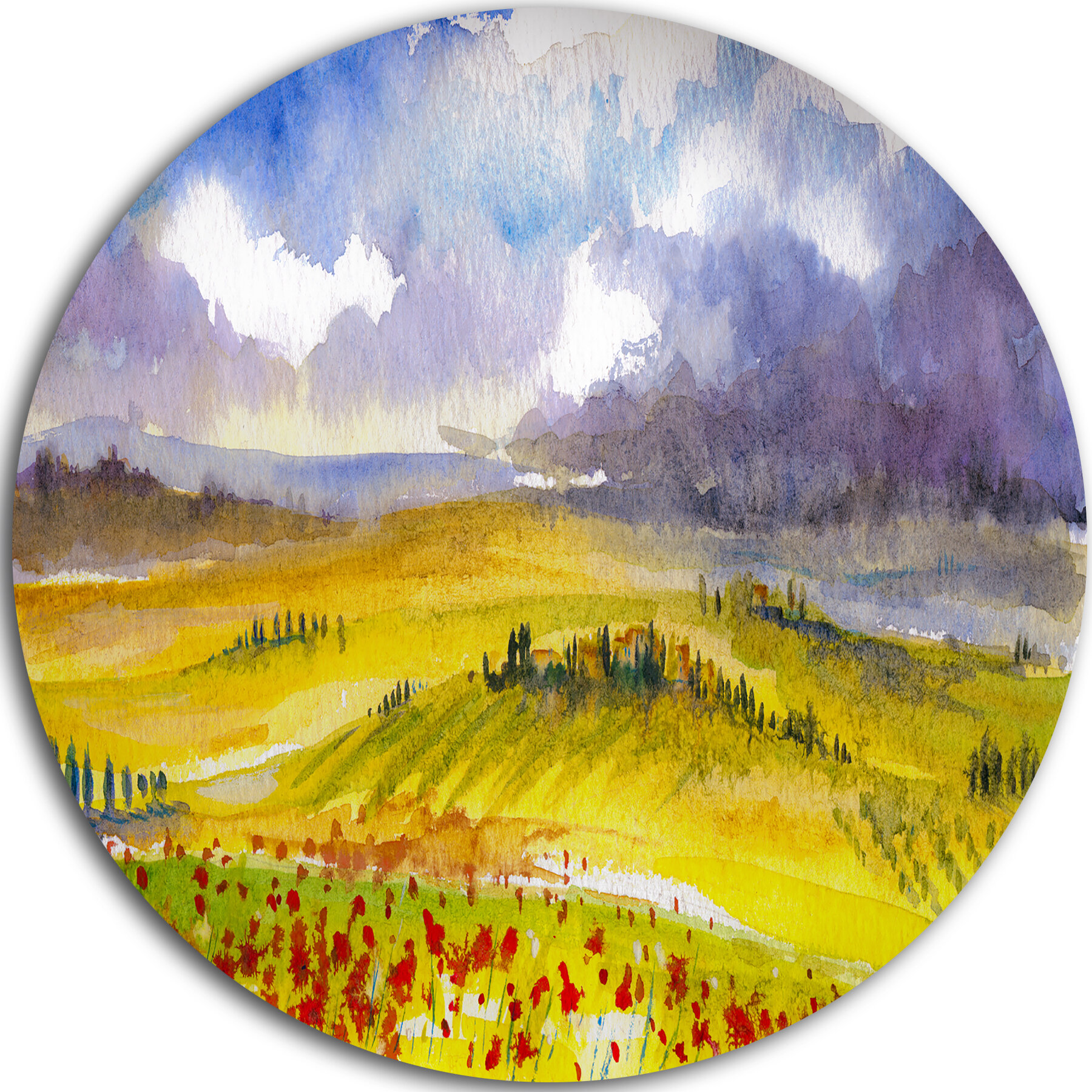 DesignArt \'Beautiful Tuscan Hills Italy\' Oil Painting Print on Metal ...