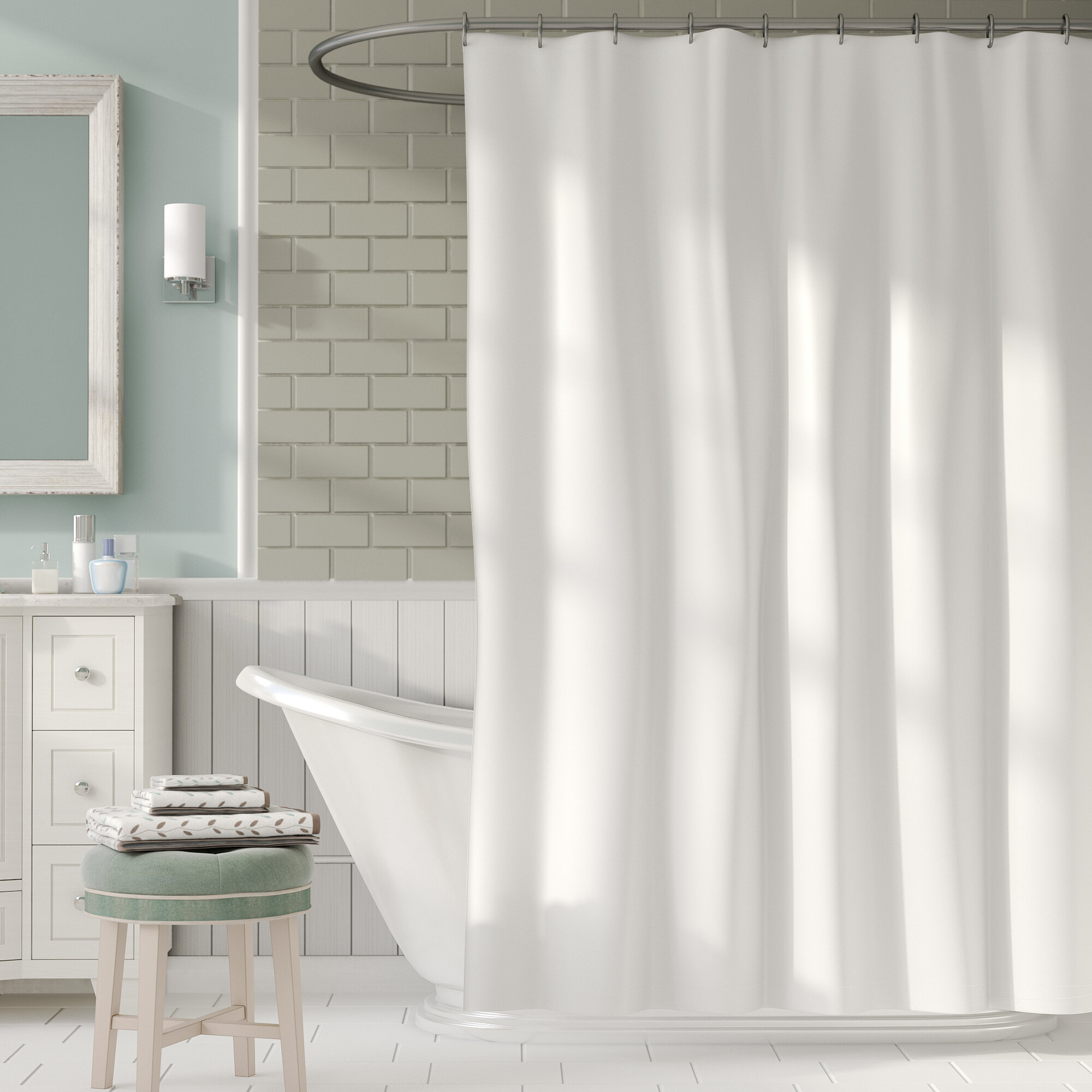 curtain product bath resistant cotton water overstock coast free today shipping front curtains chambray bedding resort ocean shower