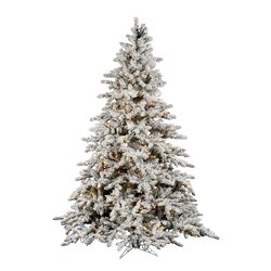 Vickerman Flocked Utica 7.5' Green Fir Artificial Christmas Tree ...