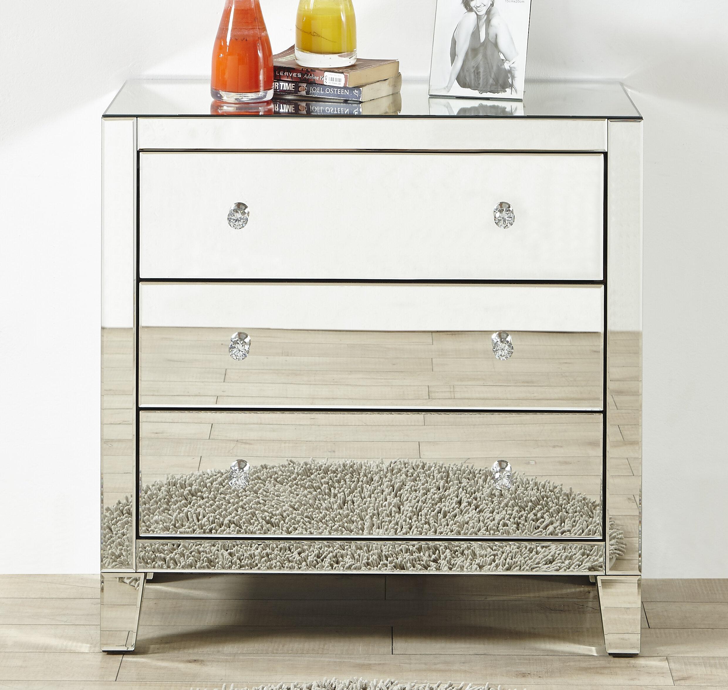 Rosdorf Park Clarence Clear Mirror 3 Drawer Standard Dresser Reviews Wayfair