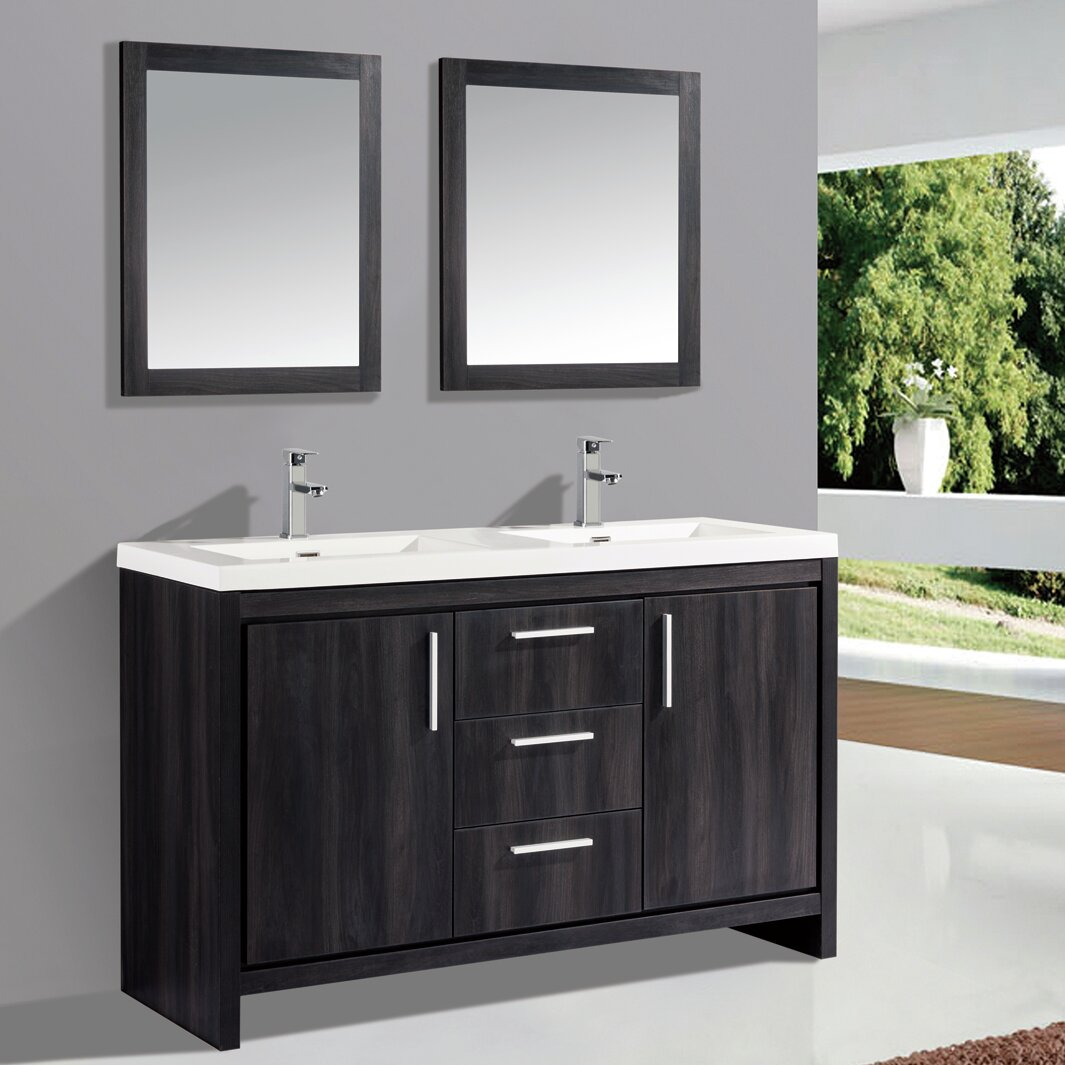 "Orren Ellis Peiffer 59"" Double Sink Bathroom Vanity Set with Mirror 