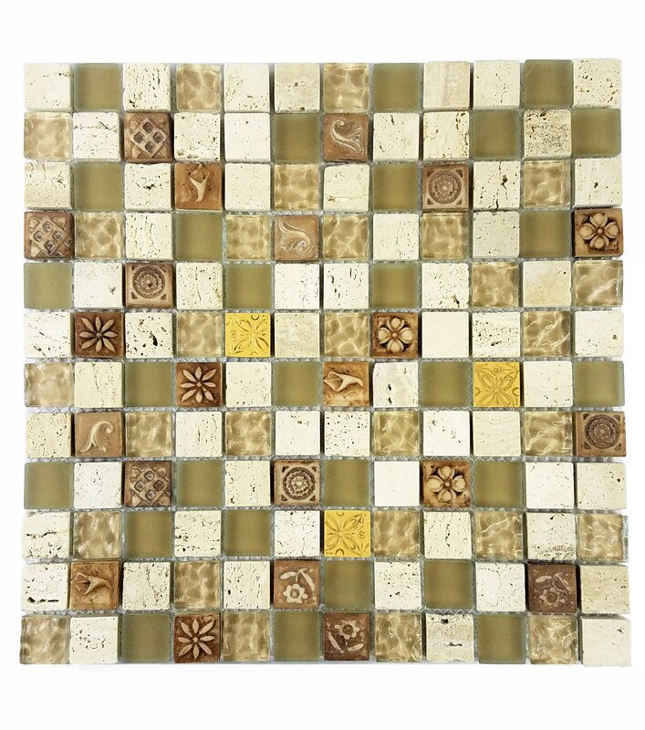 Abolos Monarchy 1 x 1 Glass and Stone Mosaic Tile in Tuvalu