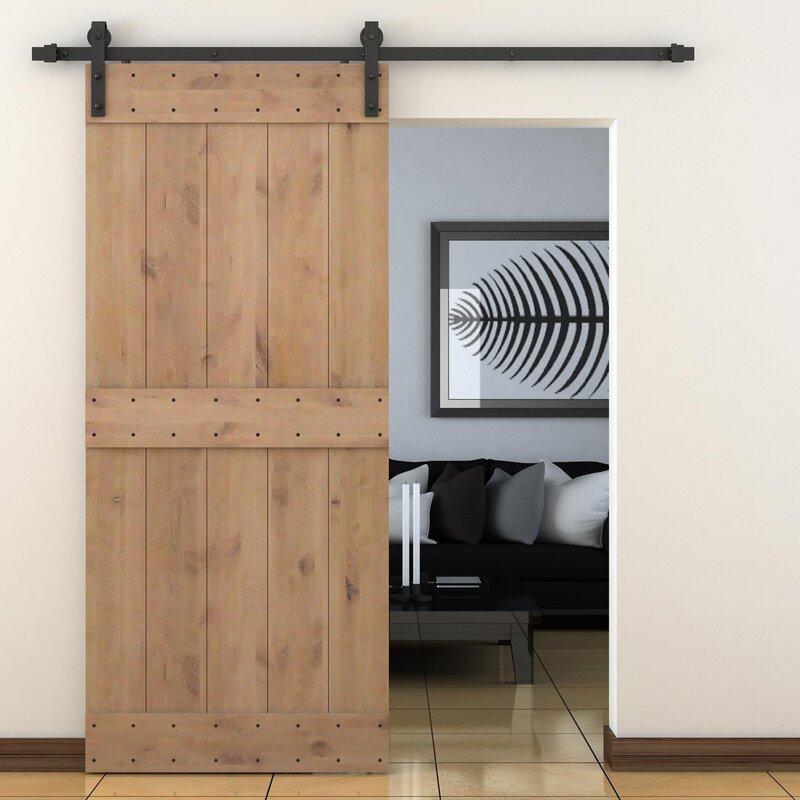 Vertical Slat Primed Sliding Knotty Solid Wood Panelled