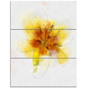 Yellow flower wall art wayfair yellow flower sketch on white 3 piece wall art on wrapped canvas set mightylinksfo