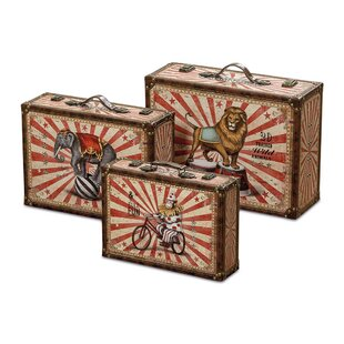 Captivating Big Top Circus Animal Suitcase 3 Piece Faux Leather Storage Box Set
