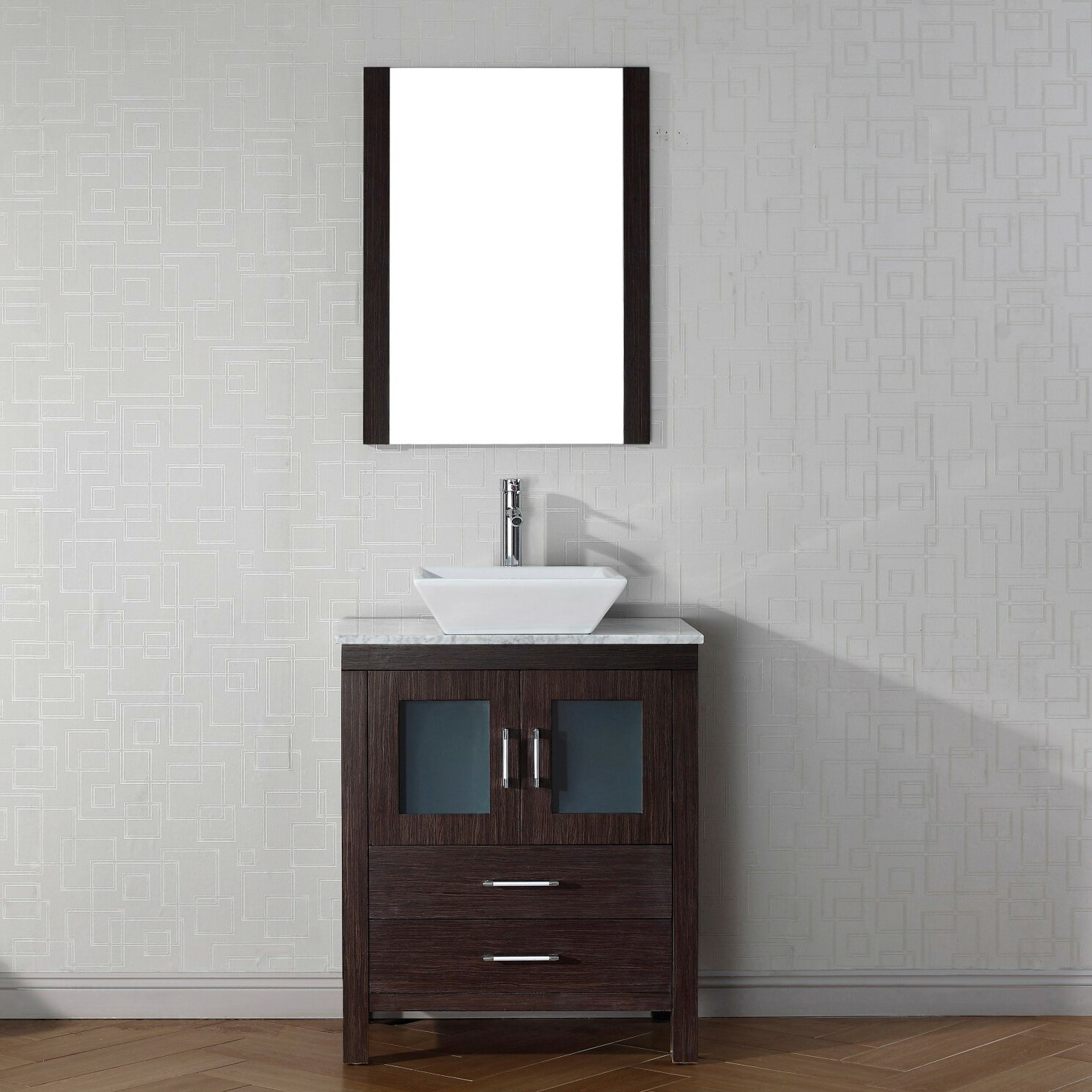 Mercury Row Cartagena 28 Single Bathroom Vanity Set With White Marble Top And Mirror Reviews Wayfair