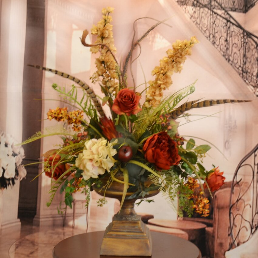 large silk flower arrangement with feathers - Silk Arrangements For Home Decor
