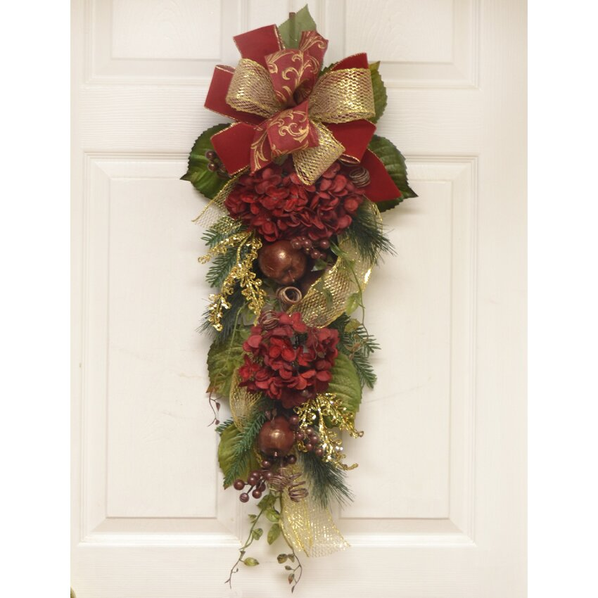 Burgundy Hydrangea Winter Door Swag