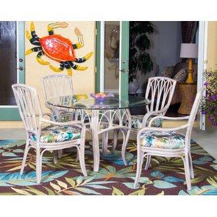 Presley Coastal 5 Piece Breakfast Nook Wood Dining Set