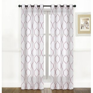 Sheer Embroidered Curtains Red