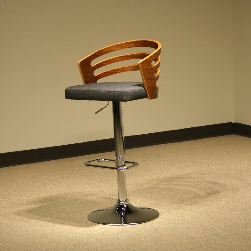 Modern Wood Adjustable Height Swivel Bar Stool
