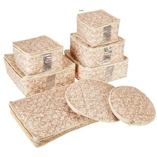 Marvelous Hudson China Damask Dining Plate Set With Storage Container (Set Of 8)