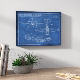 Canvas wall art birch lane american p 51 blueprint framed graphic art print on wrapped canvas malvernweather Images