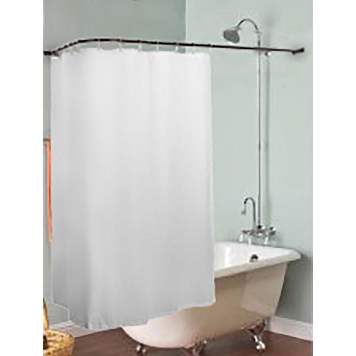 "Aluminum Rustproof 66"" L-Shaped Fixed Shower Curtain Rod"