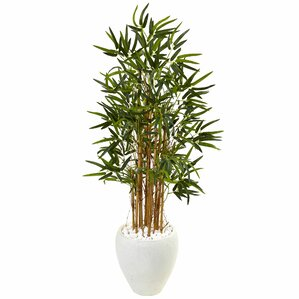 Artificial Faux Floor Bamboo Tree In Round Tapered Planter