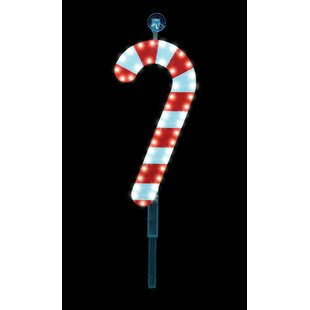 Plastic Candy Cane Stake Christmas Decoration Lighted Display