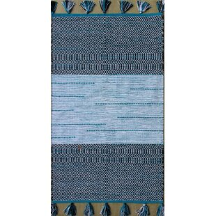 Parker Hand-Woven Blue/White Area Rug By Rosecliff Heights