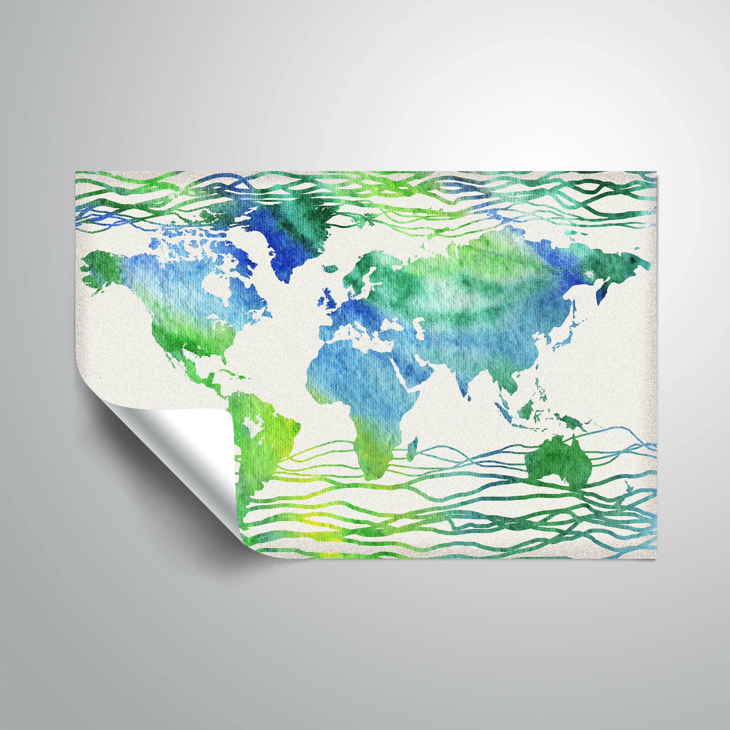 Wrought studio gillham blue green world map wall decal wayfair gumiabroncs Choice Image