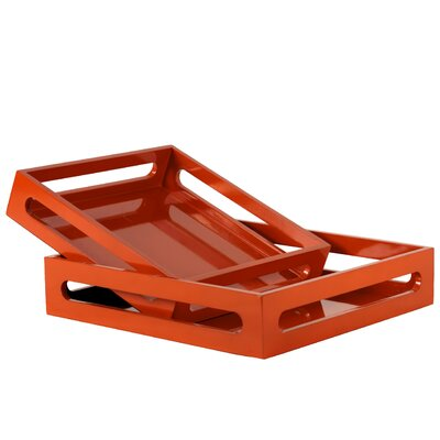 Turn on the Brights Westwick 2 Piece Square Serving Tray Set Color: Orange