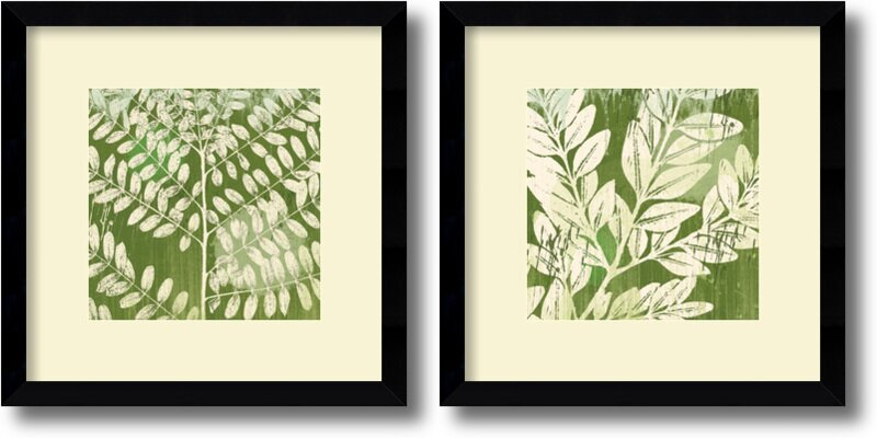 'Leaves' by Erin Clark 2 Piece Framed Painting Print Set