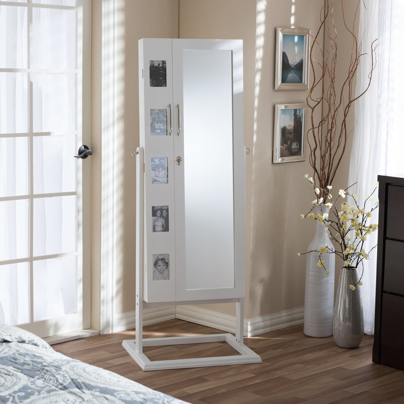Alcala Wood Floor Standing Double Door Jewelry Armoire With Mirror