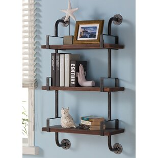 Attirant Industrial Walnut Wood Floating Wall Shelf