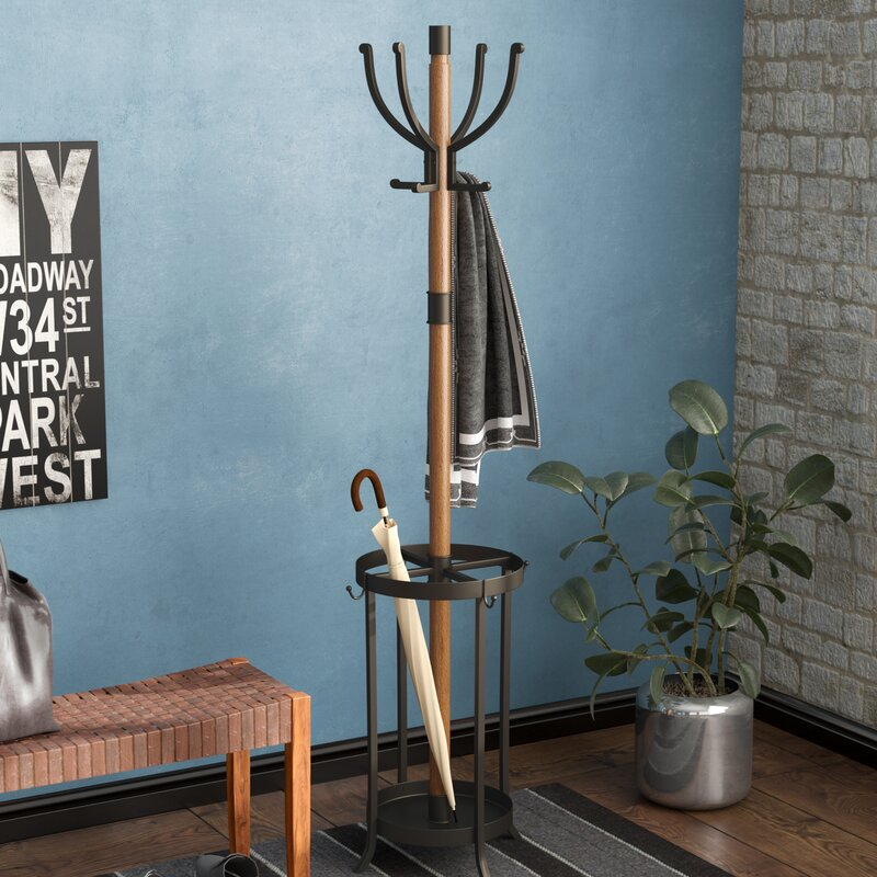 17 Stories Andreas Wood And Metal Coat Rack With Umbrella