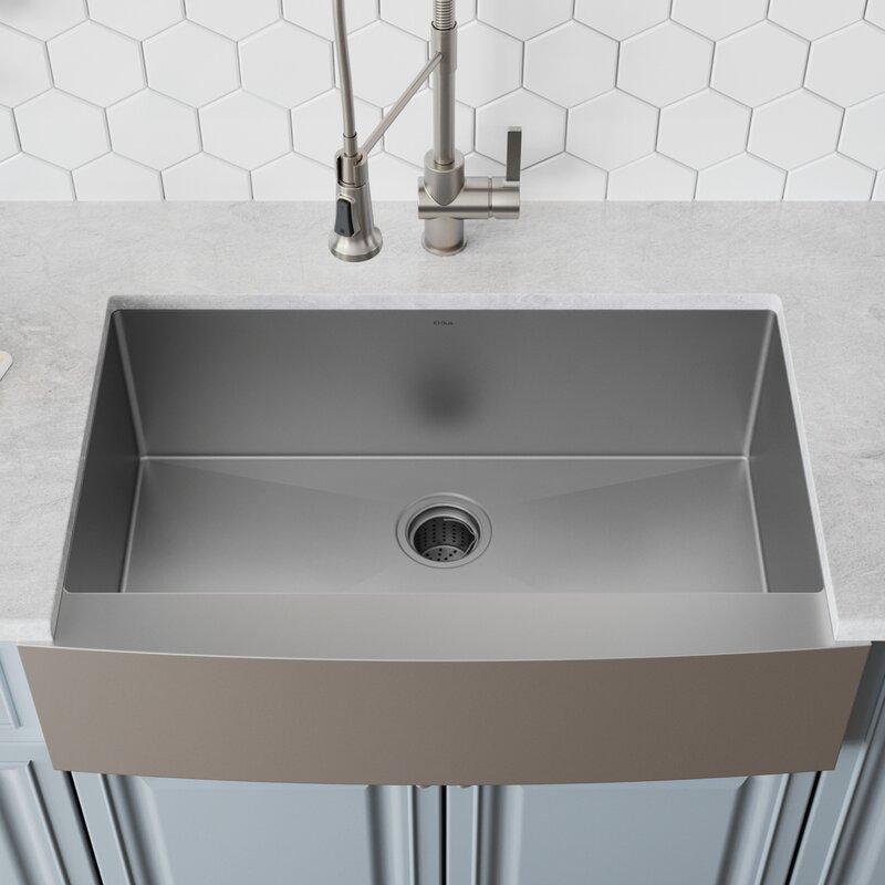 36 L X 21 W Farmhouse Kitchen Sink With Drain Embly