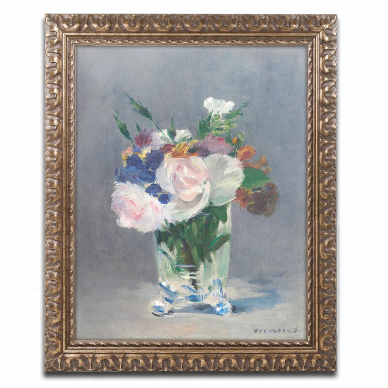 Trademark Art \'Flowers in a Crystal Vase\' by Edouard Manet Framed ...