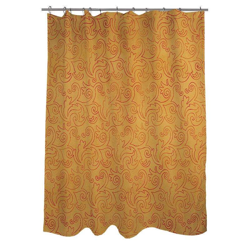 Charmant Zinnia Damask Shower Curtain
