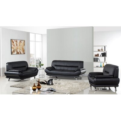 AmericanEagleInternationalTrading Arcadia Leather 3 Piece Living Room Set Upholstery: Black