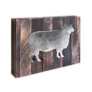 Art De Bloc De Moutons Sur La Décoration De Mur De Panneau En Bois Récupéré