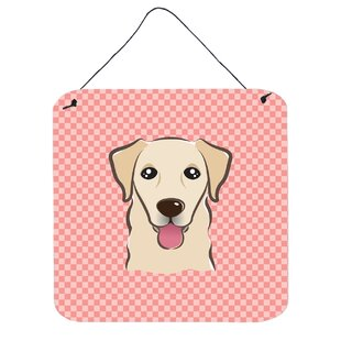 Labrador retriever wall art wayfair checkerboard retriever by denny knight wall art plaque malvernweather Image collections